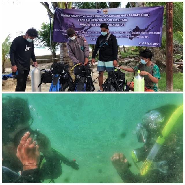 Mahasiswa ULM Latih Selam dan Scuba Pokmaswas Teluk Tamiang Kotabaru