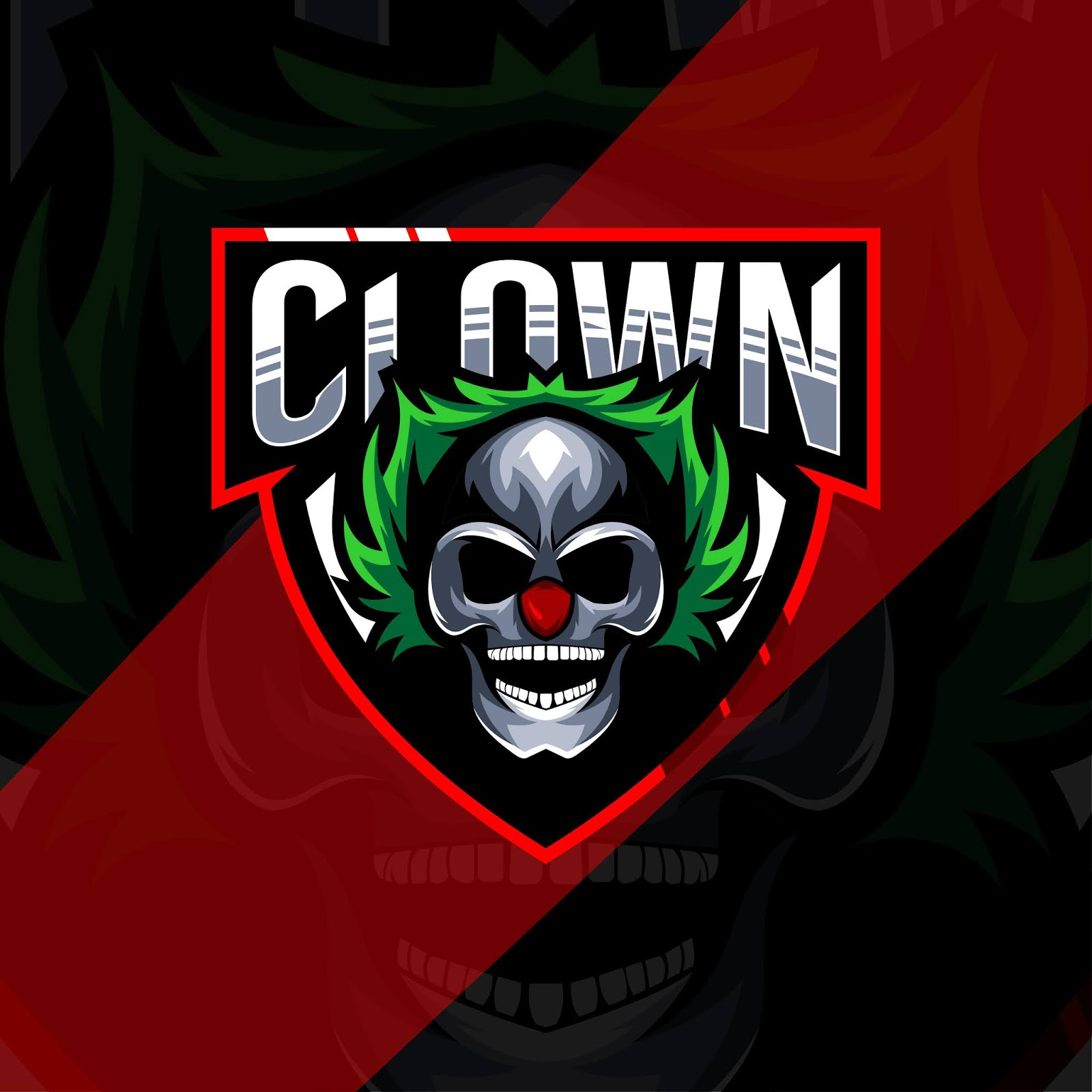 Head Clown Mascot Logo Esport Template Free Download Vector CDR, AI, EPS and PNG Formats