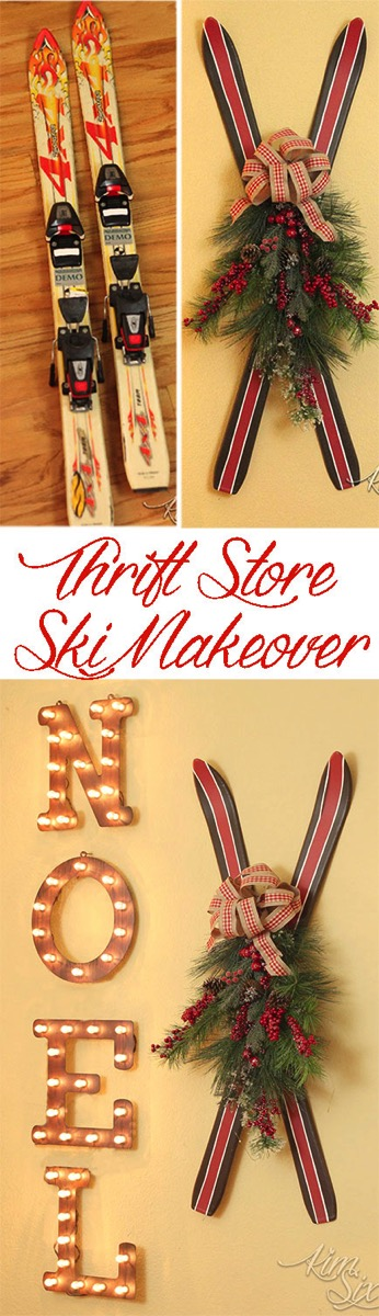 Thrift Store Skis to Vintage Christmas Decor