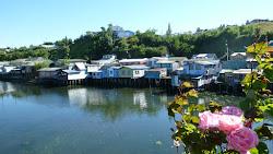 Les Palafitos maisons de pêcheurs sur pilotis.