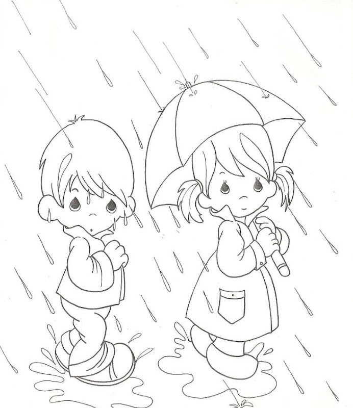 Rain Coloring Pages: Rain - Free Precious Moments Coloring Pages