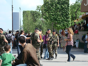 Gendarmes in the plaza under the Eiffel Tower.  These guys are everywhere, but are very subdued.