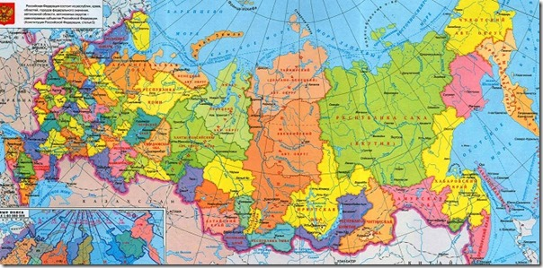 Политическая карта областей России