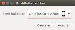 Enviar archivos con Pushbullet desde Nautilus y Nemo. Diálogo