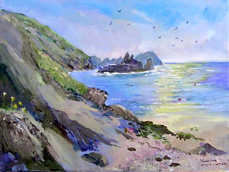 Photo: The sea was sparkling when I painted these rocks at Moulin Huet bay, the very same rocks which Pierre-Auguste Renoir painted in September 1883.  Pity he wasn't there when I painted my rocks, he could have given me some tips on how to paint! but I can see his painting in The National Gallery, Trafalgar Square, London. the rocks are identified as `Les Tas De Pois d`Amont` and La Surtaut` (Cradle rock).  #WaterscapeArtWednesday kindly sponsored by +Terrill Welch and +Shawn Lewis  #BreakfastArtClub