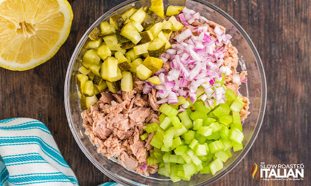 Classic Tuna Salad Recipe ingredients in bowl