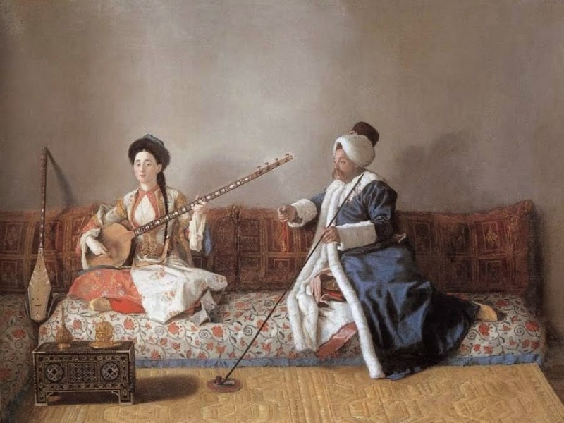 Jean-Etienne Liotard - Monsieur Levett and Mademoiselle Glavani in Turkish costumes