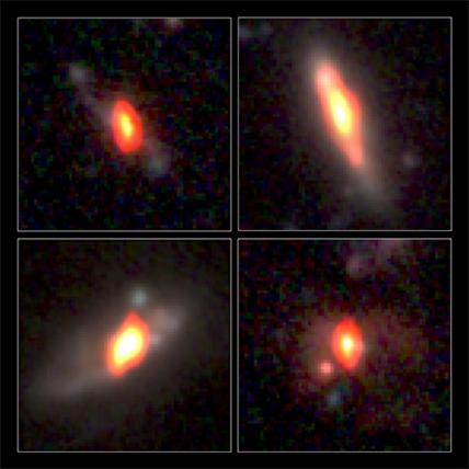 combinação de imagens no rádio e no visível de galáxias distantes