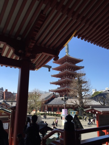 View of pagoda from Sensoji temple