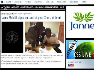 La publication annonçant le transfert de Lema Mabidi au CS Sfaxien sur le site internet du club tunisien.