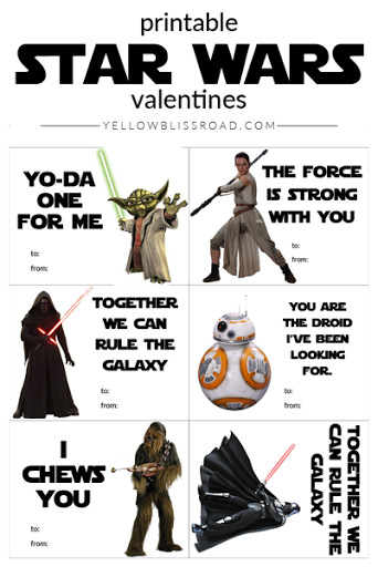photo relating to Printable Star Wars Valentine known as 30 No cost Printable Star Wars Valentines - The Kim 6 Repair service