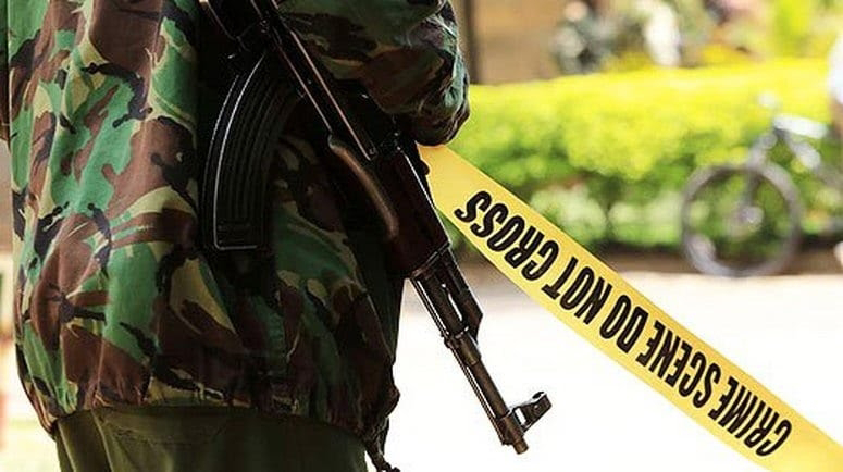 GSU officer in a crime scene