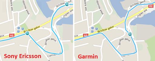 GPS precizitāte: Sony Ericsson Xperia Arc vs Garmin Oregon 300