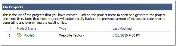 The Mobile Factory has been converted to a Web Site Factory project.