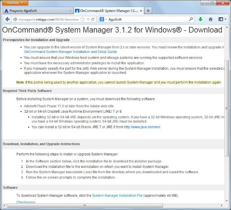 Descargar e instalar NetApp OnCommand System Manager