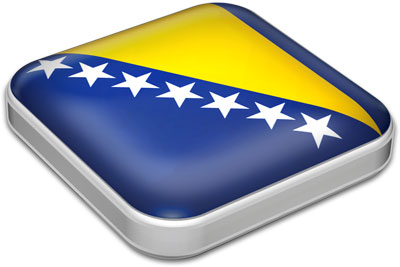 Flag of Bosnia and Herzegovina with metallic square frame