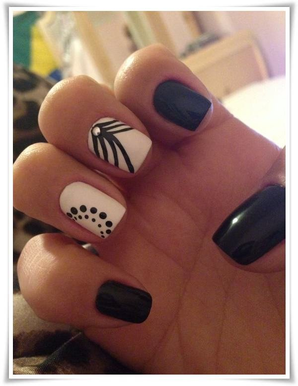 47+ Easy Black And White Nail Art Designs