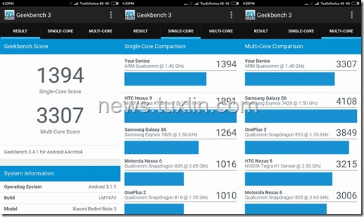 Benchmark Xiaomi Redmi Note 3 Pro Geekbench 3