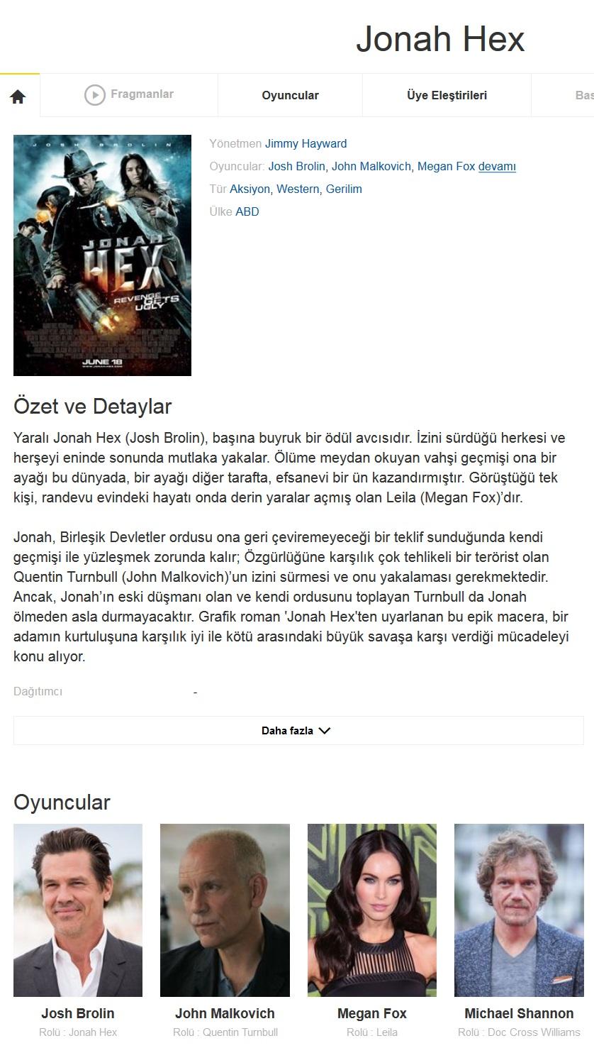 Jonah Hex 2010 - 1080p 720p 480p - Türkçe Dublaj Tek Link indir