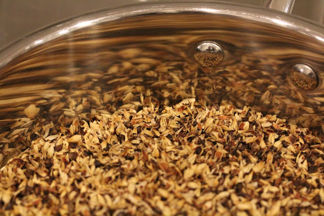 roasted, milled barley in a saucepan