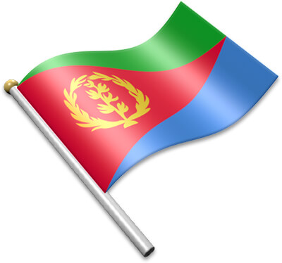 The Eritrean flag on a flagpole clipart image