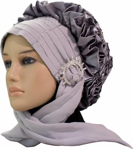 Grey colored bridal hijab