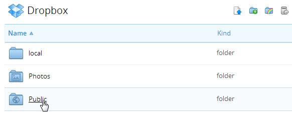 Pasta pública do Dropbox