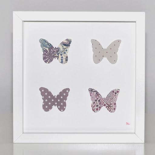 Grand cadre papillons Papillons parmes Mille Coquelicots