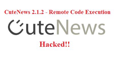 CuteNews 2.1.2 - Remote Code Execution