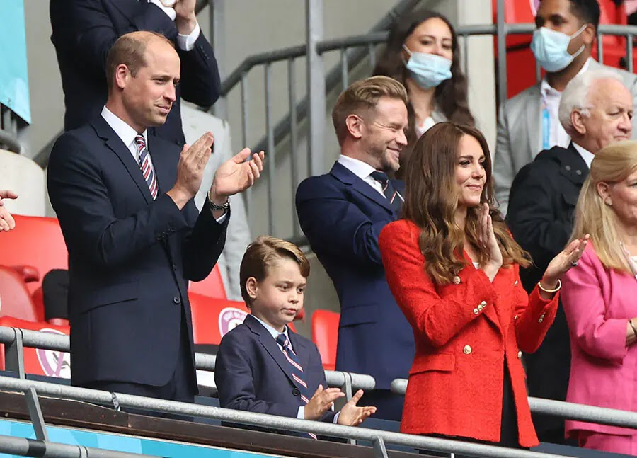 Kate Middleton, Prince George and Prince William Cheer on England Team at Wembley