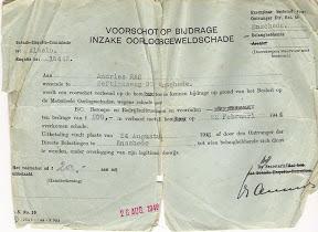 Voorschot op bijdrage inzake oorlogsgeweldschade. Na bombardement van 22 februari 1944. Bron: Henk Ras.