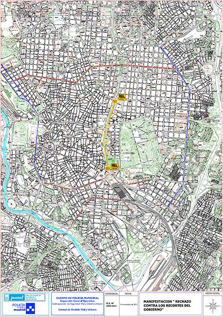 Cortes y desvíos de tráfico por la manifestación del 14N - Pincha en el plano para verlo ampliado