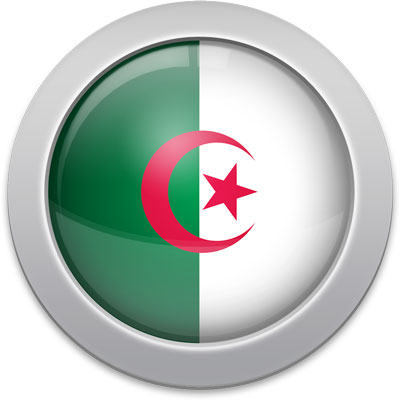 Algerian flag icon with a silver frame