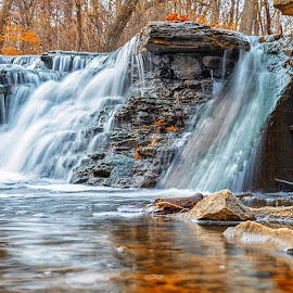 Fall Waterfall by Amy Ann - Landscapes Waterscapes
