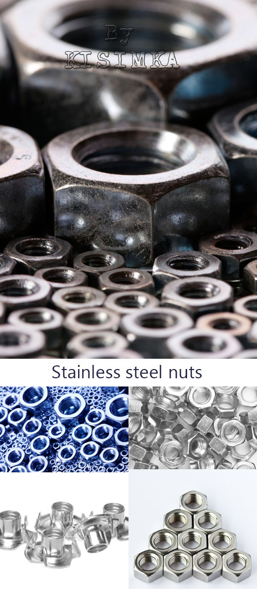 Stock Photo: Stainless steel nuts