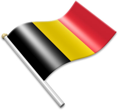 The Belgian flag on a flagpole clipart image