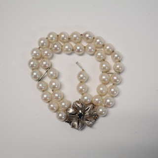 14K White Gold, Pearl and Sapphire Bracelet