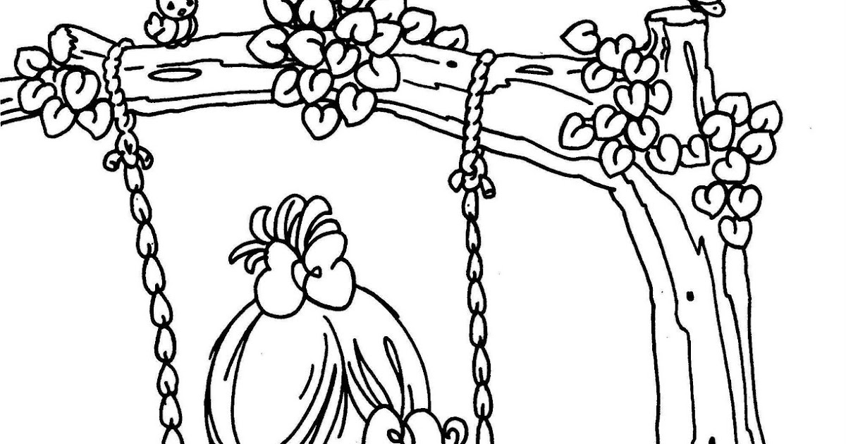 swing in a tree precious moments coloring pages