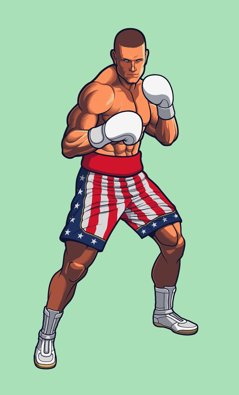 Boxing Fighter Wearing Usa Flag Free Download Vector CDR, AI, EPS and PNG Formats