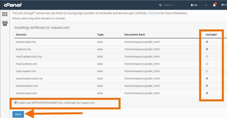 SSL Percuma Let's Encrypt Install Certificates