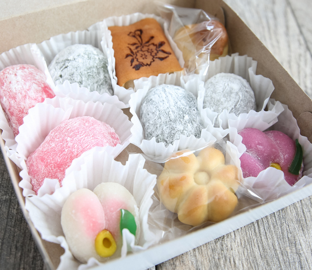 photo of a box filled with different mochi