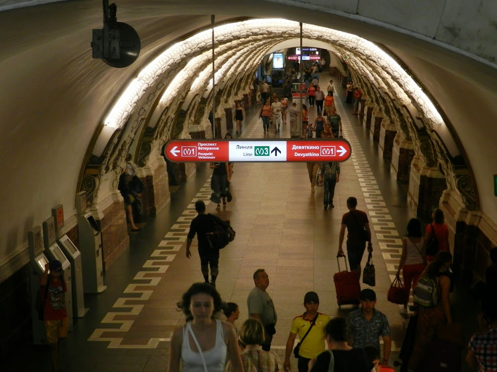 My first experience on the lovely St. Petersburg Metro!  Similar to Moscow's, but some noticeable differences...