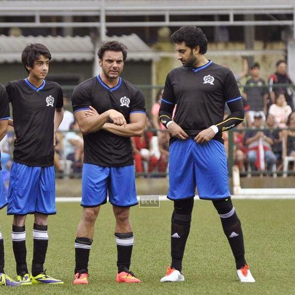 Sohail Khan and Abhishek Bachchan during a charity soccer match organised by Aamir's daughter Ira Khan, at Cooperage ground, on July 20, 2014.(Pic: Viral Bhayani)