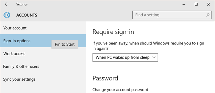 Windows 10 - Pin a Settings item in Start Screen (www.kunal-chowdhury.com)
