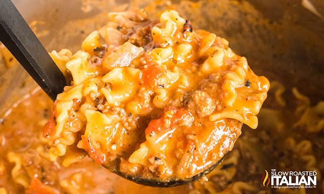 instant pot lasagna soup ladle of soup