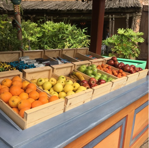 Fruit is available from a stall in adventure land