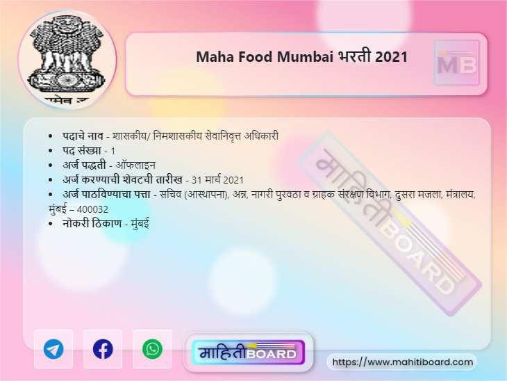 Maha Food Mumbai Recruitment 2021