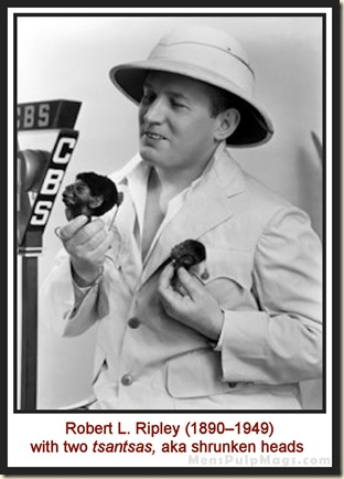 Robert Ripley & shrunken heads at CBS studios 1920s