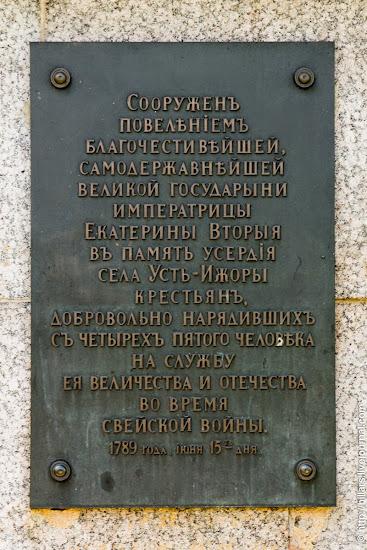 Обелиск в память о народном ополчении времен русско-шведской войны