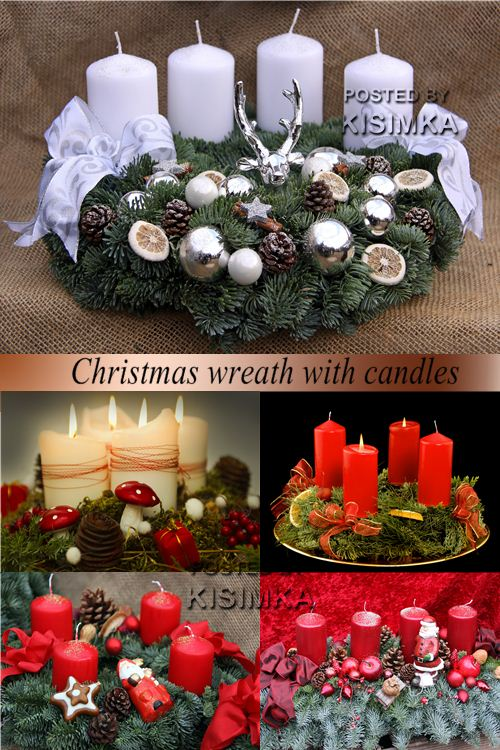 Stock Photo: Christmas wreath with candles
